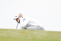 Dustin Johnson (USA) lines up a putt on the first hole during the second round of the 118th U.S. Open Championship at Shinnecock Hills Golf Club in Southampton, NY, USA. 15th June 2018.<br /> Picture: Golffile | Brian Spurlock<br /> <br /> <br /> All photo usage must carry mandatory copyright credit (&copy; Golffile | Brian Spurlock)