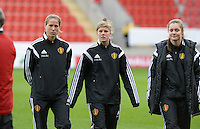 20160408 - ROTHERHAM , ENGLAND : Belgian Laura Deloose (middle) pictured with Diede Lemey (right) and Lenie Onzia (left) during the female soccer game between England and The Belgian Red Flames - Belgium , the fourth game in the qualification for the European Championship in The Netherlands 2017  , Friday 8 th April 2016 at AESSEAL New York Stadium in Rotherham , England . PHOTO DAVID CATRY
