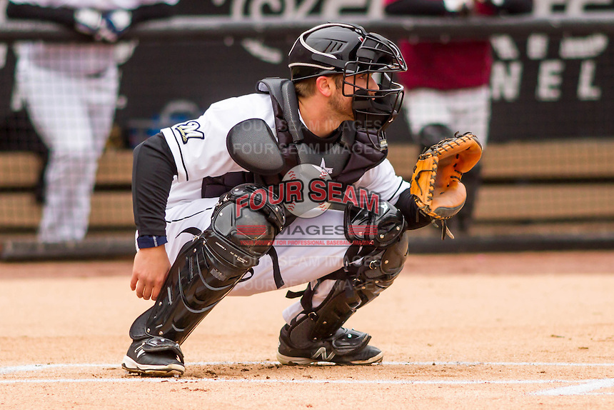 Wisconsin Timber Rattlers catcher Mitch Ghelfi (9) waits for a pitch during a Midwest League game against the Beloit Snappers on April 10th, 2016 at Fox Cities Stadium in Appleton, Wisconsin.  Wisconsin defeated Beloit  4-2. (Brad Krause/Four Seam Images)