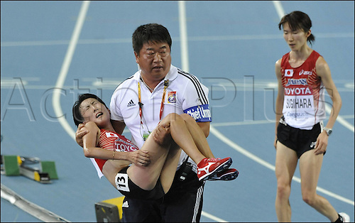27 08 2011  Daegu Korea. World Championship IAAF Daegu 2011 Day 1 10000 m Women Megumi Kinukawa exhausted After her Race