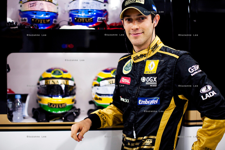 Bruno Senna, a Formula 1 driver for F1 team Lotus Renault poses for an exclusive portrait during the inaugural Airtel Indian F1 Grand Prix in Buddh International Circuit, Noida, Uttar Pradesh, India on 29th October 2011. Bruno Senna speaks of his early life that was heavily influenced by his uncle Ayrton Senna, a legendary F1 driver who died in a tragic racing accident that scarred Bruno's youth in more than one way. Photo by Suzanne Lee for Liberation