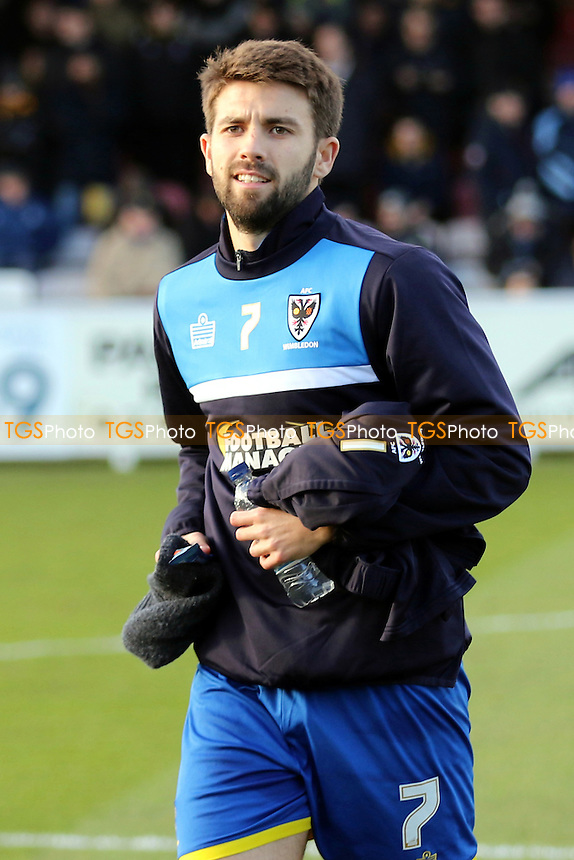 George Francomb of AFC Wimbledon pre-match during AFC Wimbledon vs Yeovil Town, Sky Bet League 2 Football at the Cherry Red Records Stadium