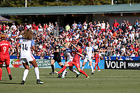 Cary, NC - Sunday October 22, 2017: Julie Ertz and Lee Geummin during an International friendly match between the Women's National teams of the United States (USA) and South Korea (KOR) at Sahlen's Stadium at WakeMed Soccer Park. The U.S. won the game 6-0.