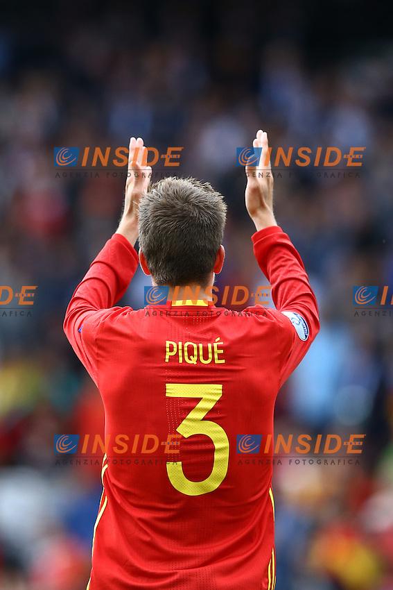 Gerard Pique Spagna<br /> Toulouse 13-06-2016 Stade Municipal Footballl Euro2016 Spain - Czech Republic  / Spagna - Repubblica Ceca Group Stage Group D. Foto Matteo Ciambelli / Insidefoto