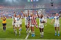 LYON, FRANCE - JULY 07: Alex Morgan #13, Julie Ertz #8, Alex Morgan #13, Allie Long #20, Crystal Dunn #19, Megan Rapinoe #15 after the 2019 FIFA Women's World Cup France final match between the Netherlands and the United States at Stade de Lyon on July 07, 2019 in Lyon, France.