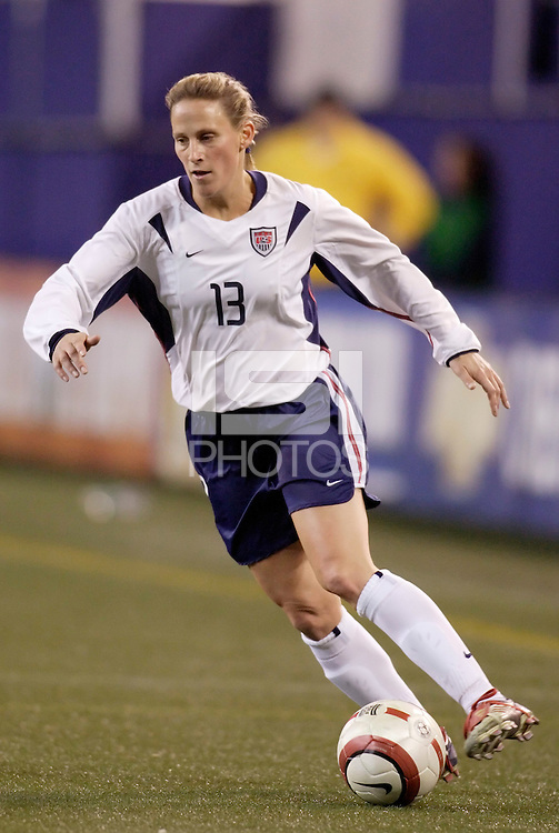 "USA's Kristine Lilly. The US Women's National Team tied the Denmark Women's National Team 1 to 1 during game 8 of the 10 game the ""Fan Celebration Tour"" at Giant's Stadium, East Rutherford, NJ, on Wednesday, November 3, 2004.."