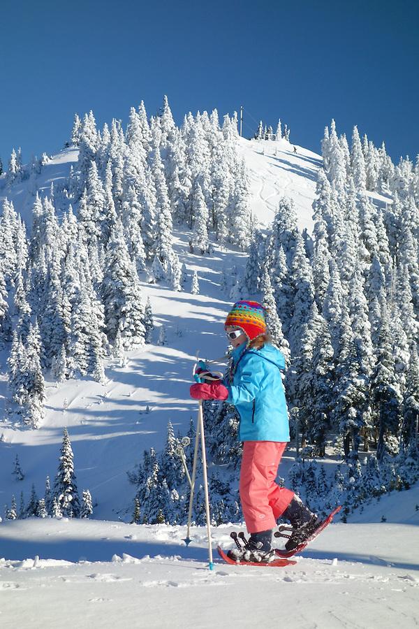 Girl snowshoeing, Hurricane Ridge, Clallam County, Olympic National Park, Washington, USA