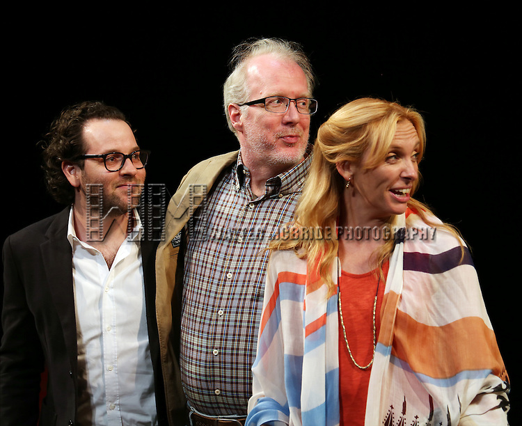 Director Sam Gold, Tracy Letts and Toni Collette during the Broadway Opening Night Performance Curtain Call for 'The Realistic Joneses'  at the Lyceum Theatre on April 6, 2014 in New York City.