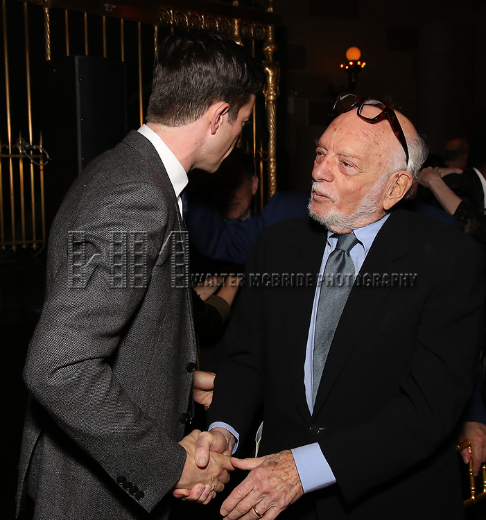 John Mulaney and Hal Prince attends 2017 Dramatists Guild Foundation Gala reception at Gotham Hall on November 6, 2017 in New York City.