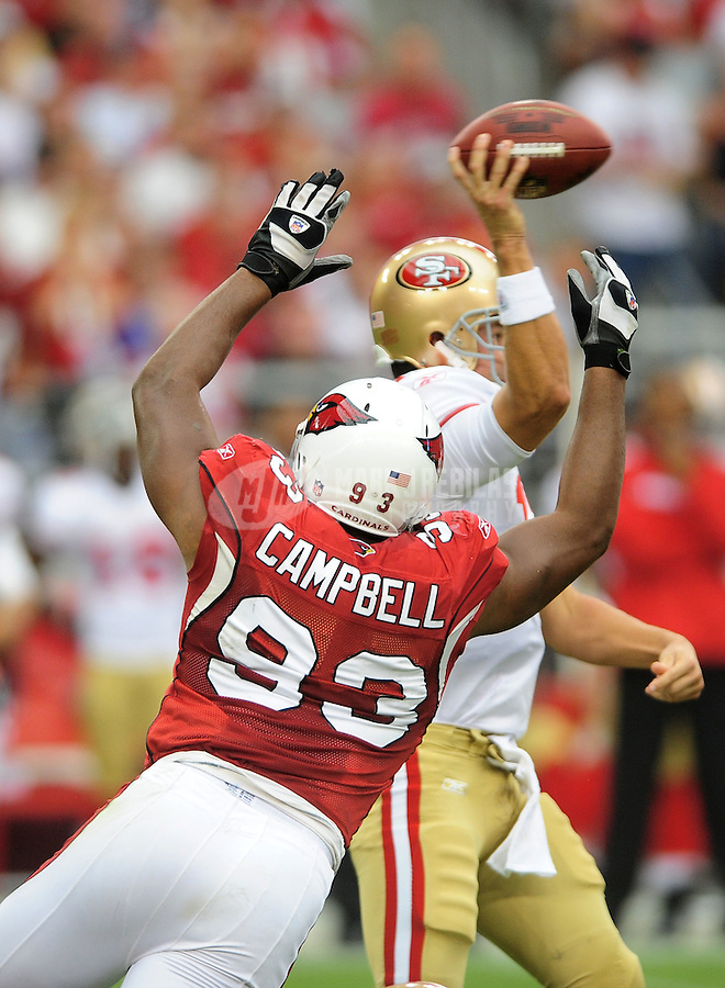 Sept. 13, 2009; Glendale, AZ, USA; Arizona Cardinals defensive end (93) Calais Campbell against the San Francisco 49ers at University of Phoenix Stadium. San Francisco defeated Arizona 20-16. Mandatory Credit: Mark J. Rebilas-