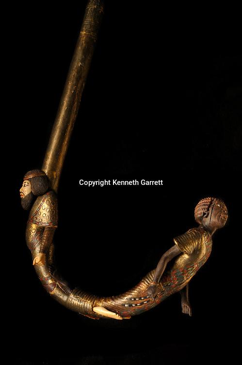 mm7864; 18th Dynasty; New Kingdom; Egypt; The Egyptian Museum; Cairo; KV62, Kung Tut, Tutankhamun, Cane, Walking Stick, Nubian, Libiyan, enemies