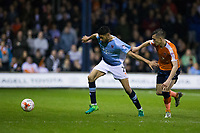 Blackpool's Kelvin Mellor holds off the challenge from Luton Town's Dan Potts<br /> <br /> Photographer Craig Mercer/CameraSport<br /> <br /> The EFL Sky Bet League Two Play-Off Semi Final Second Leg - Luton Town v Blackpool - Thursday 18th May 2017 - Kenilworth Road - Luton<br /> <br /> World Copyright &copy; 2017 CameraSport. All rights reserved. 43 Linden Ave. Countesthorpe. Leicester. England. LE8 5PG - Tel: +44 (0) 116 277 4147 - admin@camerasport.com - www.camerasport.com