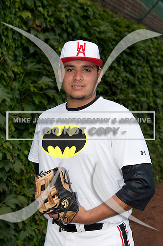Sati Santa Cruz (47) of Sahuarita High School in Sahuarita, Arizona during the Under Armour All-American Game on August 16, 2014 at Wrigley Field in Chicago, Illinois.  (Mike Janes/Four Seam Images)
