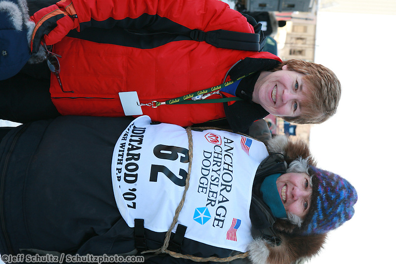 Musher Deborah Molburg-Bicknell, Bib 62 with Iditarider Virginia Molburg-Bicknell,  Anchorage 2007 Start Iditarod Alaska