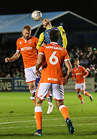 Blackpool's Chris Taylor competing in the air with Solihull Moors' Jamey Osborne<br /> <br /> Photographer Andrew Kearns/CameraSport<br /> <br /> The Emirates FA Cup Second Round - Solihull Moors v Blackpool - Friday 30th November 2018 - Damson Park - Solihull<br />  <br /> World Copyright © 2018 CameraSport. All rights reserved. 43 Linden Ave. Countesthorpe. Leicester. England. LE8 5PG - Tel: +44 (0) 116 277 4147 - admin@camerasport.com - www.camerasport.com