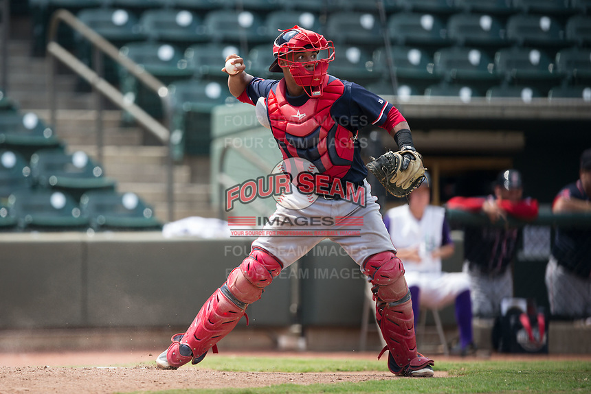 Salem Red Sox catcher Jhon Nunez (2) checks the runner on first base during the game against the Winston-Salem Dash at BB&T Ballpark on July 23, 2017 in Winston-Salem, North Carolina.  The Dash defeated the Red Sox 11-10 in 11 innings.  (Brian Westerholt/Four Seam Images)