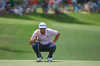 Jon Rahm (ESP) lines up his par putt on 18 during round 3 of the Fort Worth Invitational, The Colonial, at Fort Worth, Texas, USA. 5/26/2018.<br /> Picture: Golffile | Ken Murray<br /> <br /> All photo usage must carry mandatory copyright credit (&copy; Golffile | Ken Murray)