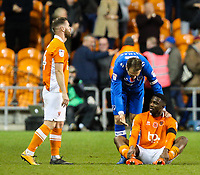 Portsmouth's Brett Pitman tries to console Blackpool's Viv Solomon-Otabor after the final whistle <br /> <br /> Photographer Alex Dodd/CameraSport<br /> <br /> The EFL Sky Bet League One - Blackpool v Portsmouth - Saturday 11th November 2017 - Bloomfield Road - Blackpool<br /> <br /> World Copyright &copy; 2017 CameraSport. All rights reserved. 43 Linden Ave. Countesthorpe. Leicester. England. LE8 5PG - Tel: +44 (0) 116 277 4147 - admin@camerasport.com - www.camerasport.com