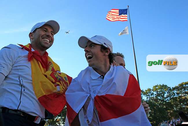 European Team Players Sergio Garcia (ESP) and Rory Mcilroy (NIR) celebrate on the 18th green after Europe wins the Ryder Cup during Sunday's Singles Matches of the 39th Ryder Cup at Medinah Country Club, Chicago, Illinois 30th September 2012 (Photo Eoin Clarke/www.golffile.ie)