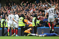 Sheffield United celebrate scoring their second goal during Chelsea vs Sheffield United, Premier League Football at Stamford Bridge on 31st August 2019