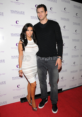 Kim Kardashian and husband Kris Humphries at Kim's 31st birthday celebration at Marquee nightclub in Las Vegas, NV. October 22, 2011 Erik Kabik / MediaPunch.