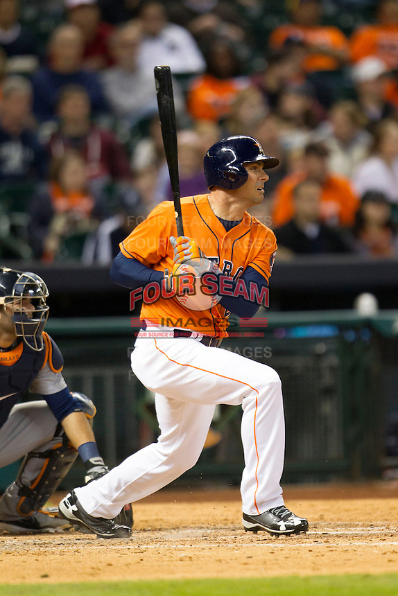Houston Astros outfielder Rick Ankiel (28) singles on a sharp line drive to center field during the seventh inning of the MLB baseball game against the Detroit Tigers on May 3, 2013 at Minute Maid Park in Houston, Texas. Detroit defeated Houston 4-3. (Andrew Woolley/Four Seam Images).