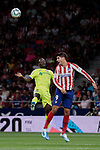 Atletico de Madrid's Alvaro Morata and Getafe CF's Djene Dakoman during La Liga match between Atletico de Madrid and Getafe CF at Wanda Metropolitano Stadium in Madrid, Spain. August 18, 2019. (ALTERPHOTOS/A. Perez Meca)