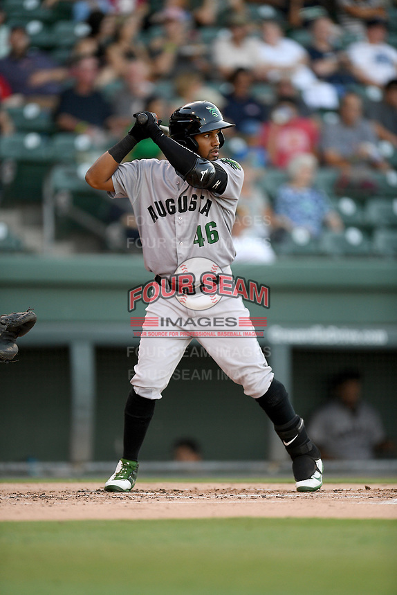 Center fielder Mikey Edie (46) of the Augusta GreenJackets bats in a game against the Greenville Drive on Thursday, August 29, 2019, at Fluor Field at the West End in Greenville, South Carolina. Augusta won, 11-0. (Tom Priddy/Four Seam Images)