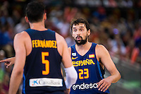Spain's basketball player Rudy Fernandez and Sergio Llull during the  match of the preparation for the Rio Olympic Game at Madrid Arena. July 23, 2016. (ALTERPHOTOS/BorjaB.Hojas) /NORTEPHOTO.COM