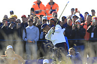 Tiger Woods (Team USA) tees off the 10th hole during Saturday's Foursomes Matches at the 2018 Ryder Cup 2018, Le Golf National, Ile-de-France, France. 29/09/2018.<br /> Picture Eoin Clarke / Golffile.ie<br /> <br /> All photo usage must carry mandatory copyright credit (© Golffile | Eoin Clarke)