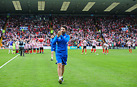 Lincoln City manager Danny Cowley applauds the fans before kick off<br /> <br /> Photographer Chris Vaughan/CameraSport<br /> <br /> The EFL Sky Bet League Two Play Off First Leg - Lincoln City v Exeter City - Saturday 12th May 2018 - Sincil Bank - Lincoln<br /> <br /> World Copyright &copy; 2018 CameraSport. All rights reserved. 43 Linden Ave. Countesthorpe. Leicester. England. LE8 5PG - Tel: +44 (0) 116 277 4147 - admin@camerasport.com - www.camerasport.com