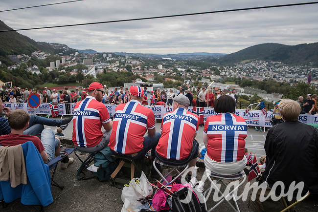 Norwegian fans up Salmon Hill, looking over Bergen<br /> <br /> Men Elite Road Race<br /> <br /> UCI 2017 Road World Championships - Bergen/Norway