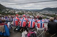 Norwegian fans up Salmon Hill, looking over Bergen<br /> <br /> Men Elite Road Race<br /> <br /> UCI 2017 Road World Championships - Bergen/Norway
