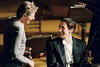 The Pianist (2002)<br /> Behind the scenes photo of Adrien Brody &amp; Roman Polanski<br /> *Filmstill - Editorial Use Only*<br /> CAP/KFS<br /> Image supplied by Capital Pictures