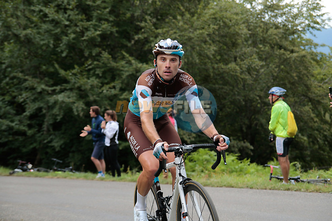 Pierre Roger Latour (FRA) AG2R la Mondiale rounds the final bend before the finish of Stage 3 of the Route d'Occitanie 2020, running 163.5km from Saint-Gaudens to Col de Beyrède, France. 3rd August 2020. <br /> Picture: Colin Flockton | Cyclefile<br /> <br /> All photos usage must carry mandatory copyright credit (© Cyclefile | Colin Flockton)