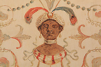 "Detail of a painted decorative wall panel depicting figure with turban, earrings and feathers, probably a eunuch, Turkish Boudoir, redesigned in 1777 for Marie Antoinette, by architect Richard Mique, Chateau de Fontainebleau, France. The decoration is the achievement of the brothers Rousseau, and the furniture dates to the period of the First Empire, with precious textile work done by Jacob-Desmalter for Empress Josephine. Including a small bedroom, mirrors, and curtains raised by pulleys, this exceptional ensemble has been restored in 2014 thanks to the support of INSEAD and the generosity of subscribers of sponsors belonging to the group ""Des Mécènes pour Fontainebleau"". Its opening to the public is schedule for Spring 2015. Picture by Manuel Cohen"