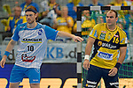 GER - Mannheim, Germany, September 23: During the DKB Handball Bundesliga match between Rhein-Neckar Loewen (yellow) and TVB 1898 Stuttgart (white) on September 23, 2015 at SAP Arena in Mannheim, Germany. Final score 31-20 (19-8) .  Kasper Kisum #10 of TVB 1898 Stuttgart, Rafael Baena Gonzalez #16 of Rhein-Neckar Loewen, Dominik Weiss #6 of TVB 1898 Stuttgart<br /> <br /> Foto &copy; PIX-Sportfotos *** Foto ist honorarpflichtig! *** Auf Anfrage in hoeherer Qualitaet/Aufloesung. Belegexemplar erbeten. Veroeffentlichung ausschliesslich fuer journalistisch-publizistische Zwecke. For editorial use only.