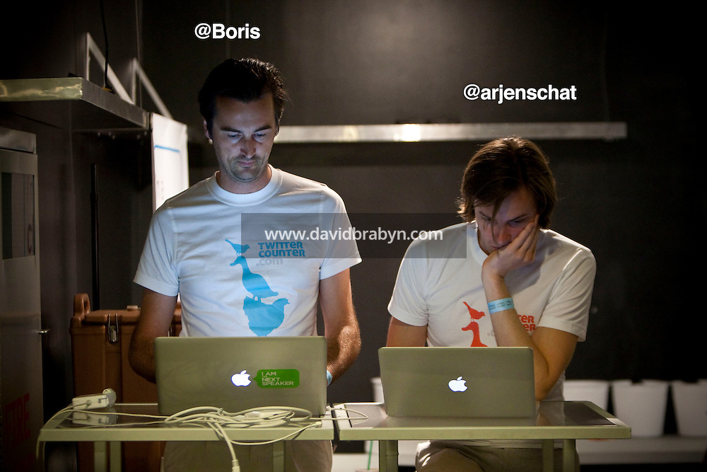 Boris Veldhuijzen van Zanten (@Boris, L) and Arjen Schat (@arjenschat) work on their computers during the 140 Character conference in New York City, USA, 16 June 2009.