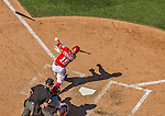 7 September 2014: Washington Nationals outfielder Kevin Frandsen loses grip on his bat during a game against the Philadelphia Phillies at Nationals Park in Washington, DC. The Nationals defeated the Phillies 3-2 to salvage the final game of their 3-game series. Mandatory Credit: Ed Wolfstein Photo *** RAW (NEF) Image File Available ***