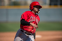 Los Angeles Angels catcher Jeyson Sanchez (72) during a Minor League Spring Training game against the Chicago Cubs at Sloan Park on March 20, 2018 in Mesa, Arizona. (Zachary Lucy/Four Seam Images)