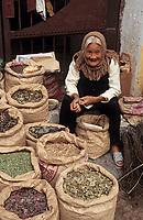 Asie/Vietnam/Hanoi: Le marché - Herboriste devant la pagode Nuyen Thuyen