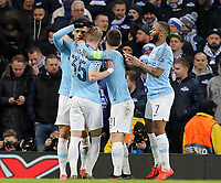 Manchester City's Leroy Sane is mobbed by team-mates after scoring his sides third goal<br /> <br /> Photographer Rich Linley/CameraSport<br /> <br /> UEFA Champions League Round of 16 Second Leg - Manchester City v FC Schalke 04 - Tuesday 12th March 2019 - The Etihad - Manchester<br />  <br /> World Copyright © 2018 CameraSport. All rights reserved. 43 Linden Ave. Countesthorpe. Leicester. England. LE8 5PG - Tel: +44 (0) 116 277 4147 - admin@camerasport.com - www.camerasport.com
