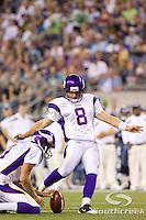 Minnesota Vikings placekicker Ryan Longwell (8) attempts for a field goal in a game against the Seattle Seahawks at CenturyLink Field in Seattle, Washington. The Minnesota Vikings won the game, 20-7.