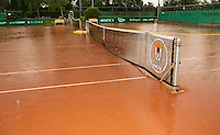 August 22, 2014, Netherlands, Amstelveen, De Kegel, National Veterans Championships, rain<br /> Photo: Tennisimages/Henk Koster