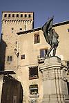 Plaza de San Martin Square with monument to Juan Bravo and the Torreon de Lozoya Building, Segovia, Spain