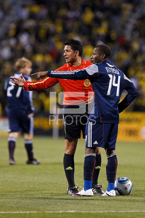 8 MAY 2010:  Referee Ramon Hernandez and New England Revolutions' Sainey Nyassi (14) during MLS soccer game between New England Revolution vs Columbus Crew at Crew Stadium in Columbus, Ohio on May 8, 2010. The Columbus defeated New England 3-2.