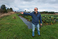 Yarrow EcoVillage Co-founder Michael Hale. Yarrow B.C. 2017. The Kinder Morgan proposed pipeline would cut through the village community agricultural land.