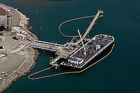 aerial photograph oil boom petroleum barge Port of Richmond, California