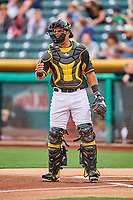 Carlos Perez (19) of the Salt Lake Bees on defense against the Omaha Storm Chasers in Pacific Coast League action at Smith's Ballpark on May 8, 2017 in Salt Lake City, Utah. Salt Lake defeated Omaha 5-3. (Stephen Smith/Four Seam Images)