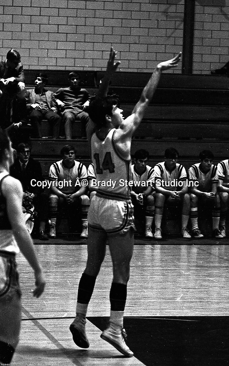 Bethel Park PA:  Bruce Evanovich 14 shooting a foul shot during a basketball game against the Mt Lebanon Blue Devils at Bethel Park Gymnasium  - 1968. The JV Team was coached by Mr. Reno and the Bethel Park JVs won the Section Championship.  The team included; Scott Streiner, Steve Zemba, John Klein, Mike Stewart, Bruce Evanovich and Tim Sullivan.